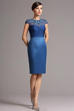 eDressit Spitze Applique Kleid Abgedecktärmlig Blau Cocktail(26162105)