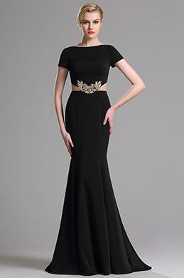 Dressit Schwarz kurzen Ärmeln Mermaid Prom Abendkleid (00163300)