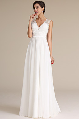 Robe de Mariée V Col Broderie Bijoux Perles Sans Manches(01160407)