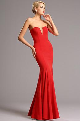 Trägerlos V Ausschnitt Rot Prom Formal Kleid (00161102)