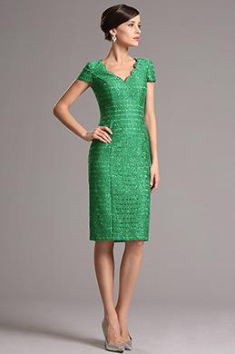 Grün Retro V Ausschnitt Kurze Ärmel Kleid Für Braut′s Mutter(26161704)