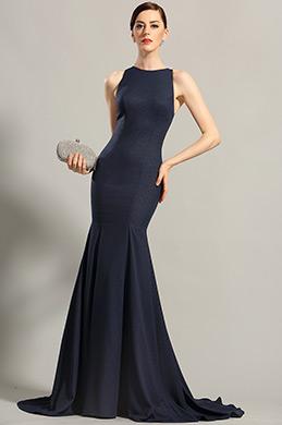 Marine Blau Ärmellos Abendkleid Formal Ballkleid (00155205)