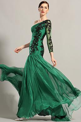 eDressit robe de soirée asymétrique verte et dentelle noire (02153904)