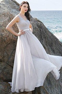 A Linie Grau Abednkleid Prom Kleid mit Spitze Schultern (00160408)