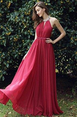 eDressit  A Linie Burgundrot  Neckholder Formell Abendkleid (00170317)