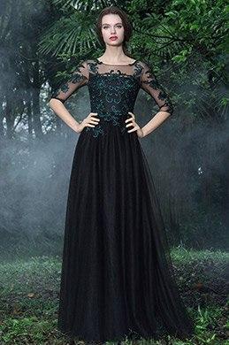 eDressit Robe de Soirée Noire Dentelle Verte A Line Manche  (26171200)