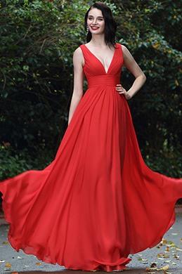 eDressit Red Sexy Chiffon Bridesmaid Dress Evening Gown (00170402)