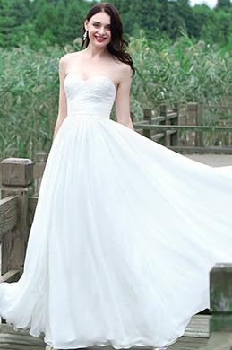 eDressit Weiß Trägerlos Herz Ausschnitt Brautkleid (01171307)