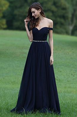 eDressit Schulterfrei Dunkelblau Chiffon Kleid mit Gürtel(00170605)