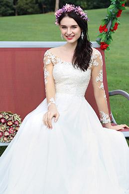eDressit Long Sleeves Lace Beaded Bridal Dress (01171507)