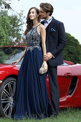 eDressit Robe de Soirée Bretelle Séquin Perlée Bleue(36170205)