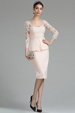 Rosa V Ausschnitt Knielang Spitze Kleid für die Brautmutter (26180201)