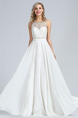 eDressit A Linie Ärmellos Weiß Perlen Abendkleid (36173907)