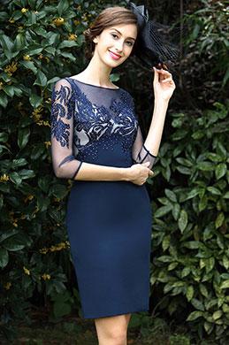 eDressit Blau Stickerei Perlen Kleid für die Brautmutter(26171005)
