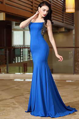 eDressit Blau Träger Meerjungfrau Linie Abendkleid(02171105)