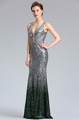 eDressit Elegant Deep V-Cut silver Green Sequins Party Dress (02183026)