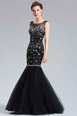 eDressit Glänzend Schwarz Perlen Meerjungfrau Abendkleid (36184500)