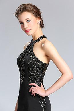 eDressit Sexy Schwarz Halfter Perlen Abendkleid Ballkleid (36182300)