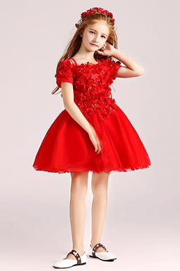 eDressit  Red Floral Princess Flower Girl Stage Dress (28190602)