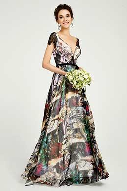 eDressit Robe de Soirée à Col en V Imprimé Floral (00191068)