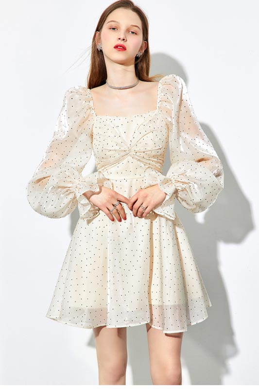 High Fashion Long Sleeves Polka Dot Dress Womenm Mini Dress (T360006)