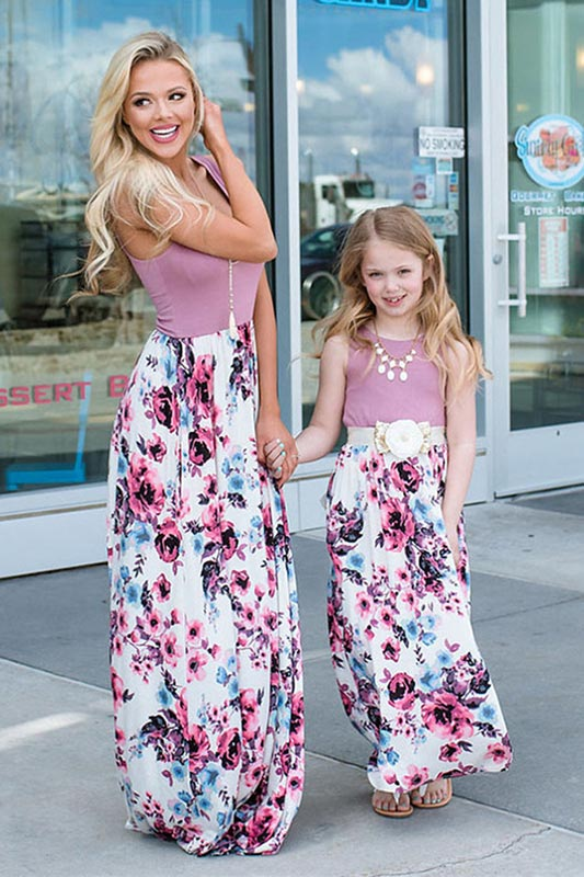 New Mommy and Me Boho Floral Summer Beach Dress (T400768)