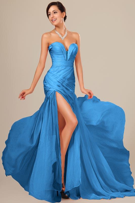 eDressit Sky Blue Chiffon Ruched bodice Evening Dress (00120505)