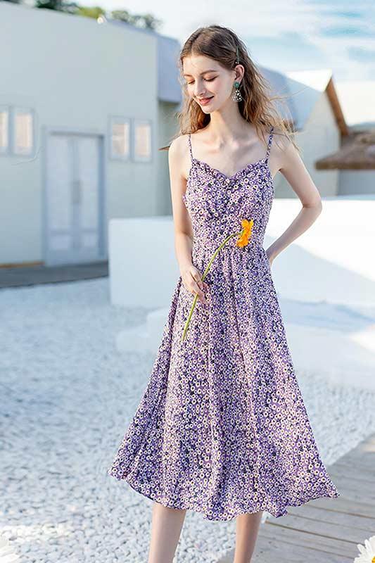 Women's Summer Floral Purple Mixi Dress Party Wear (T061005)