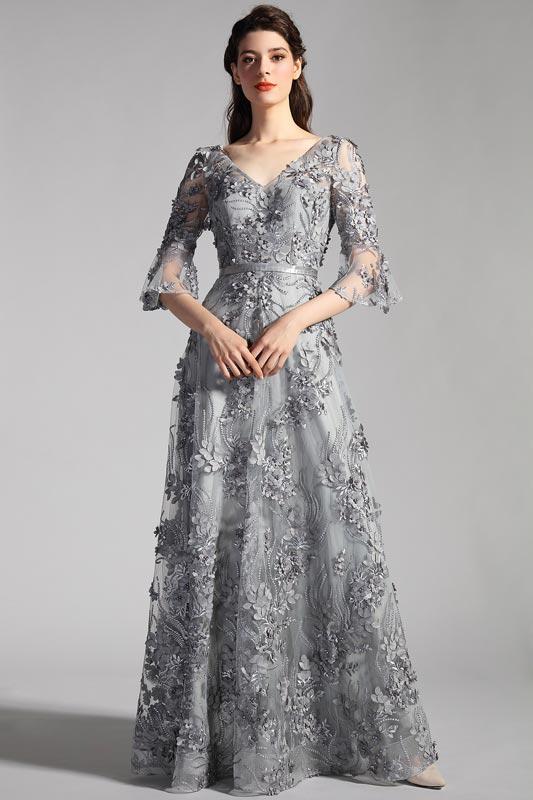 vestido de fiesta de noche floral de tela gris con mangas (26201808)