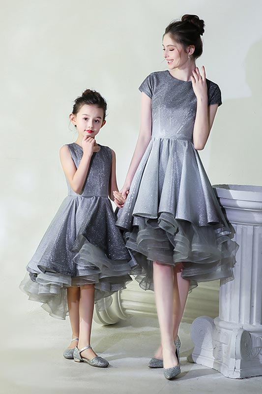 New Mommy and Me Shiny Grey Tulle Princess Dress (T401308)