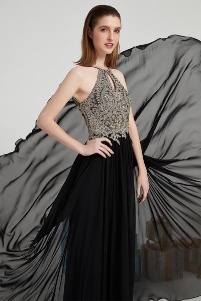 eDressit New Black Open Back Halter Beaded Party Prom Dress(00202600)