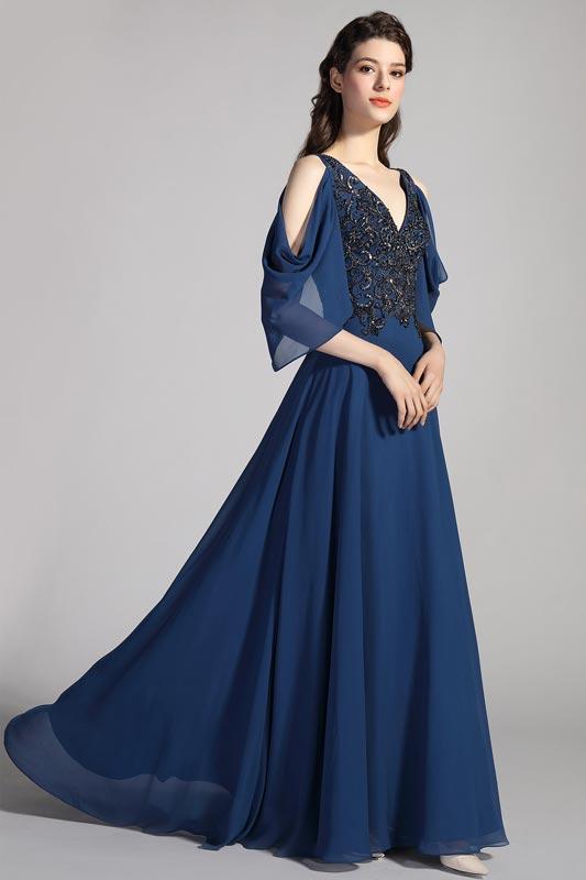 eDressit Vestido de fiesta azul bordado con cuello en V y m (26201605)