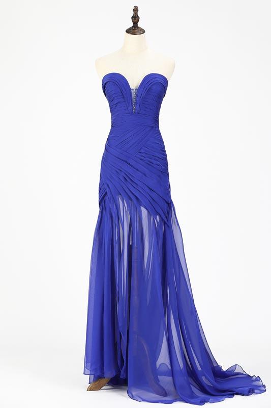 eDressit Blue Chiffon Ruched bodice Evening Dress (00120544)