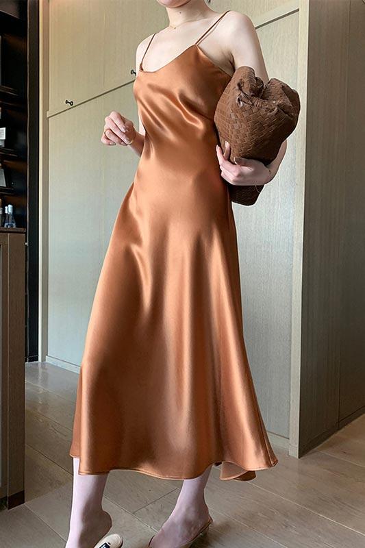 New Fashion Acetate Satin Midi Dress Vince Women's Slip Dress (T360001)