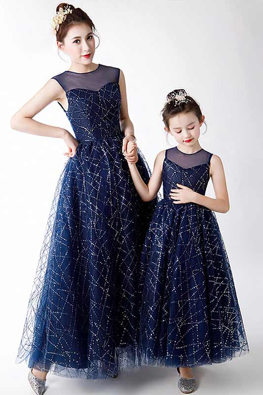 New Mommy and Me Matching Long Dress Tulle Navy Blue (T401205)