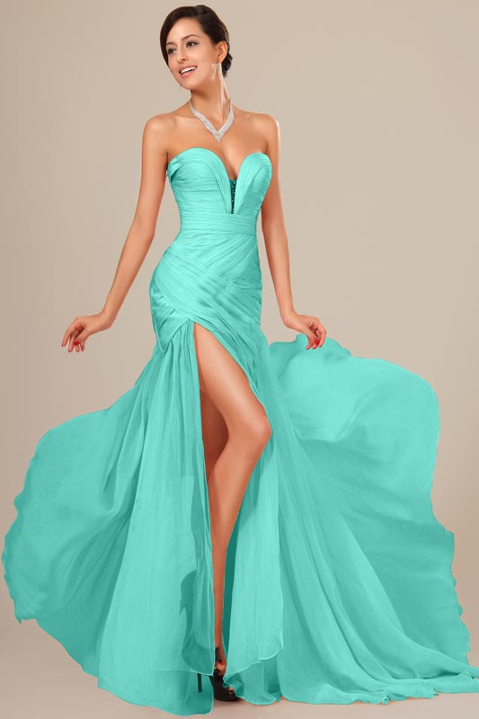 eDressit Peacock Chiffon Ruched bodice Evening Dress (00120537)