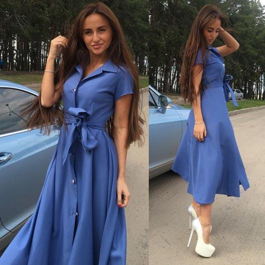 New Summer Short Sleeves Button Front Bowtie Belt Dress S-XXL (T300006)
