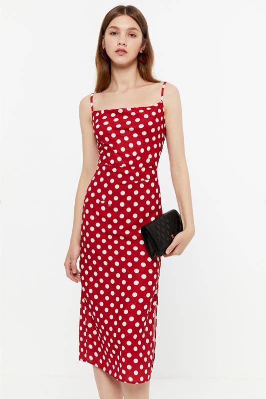 New Summer Spaghetti Red Polka Dot Dress Pencil Dress (T360007)